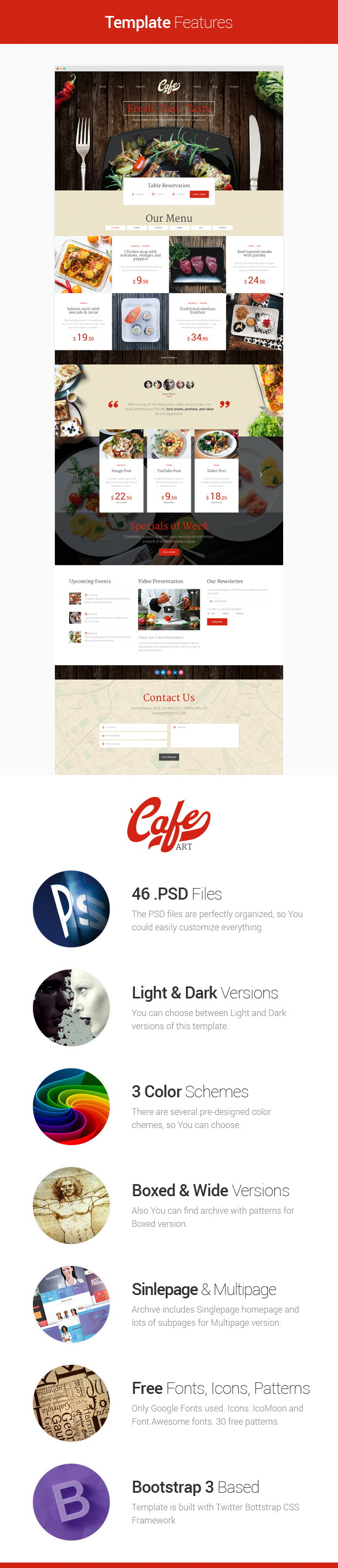 Cafe Art - Cafe and Restaurant PSD template