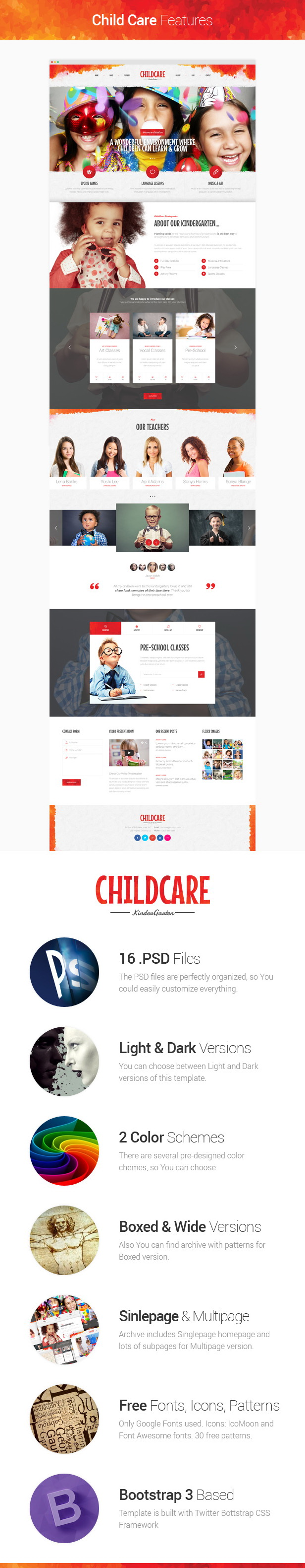 Child Care - Children & Kindergarten PSD Template description