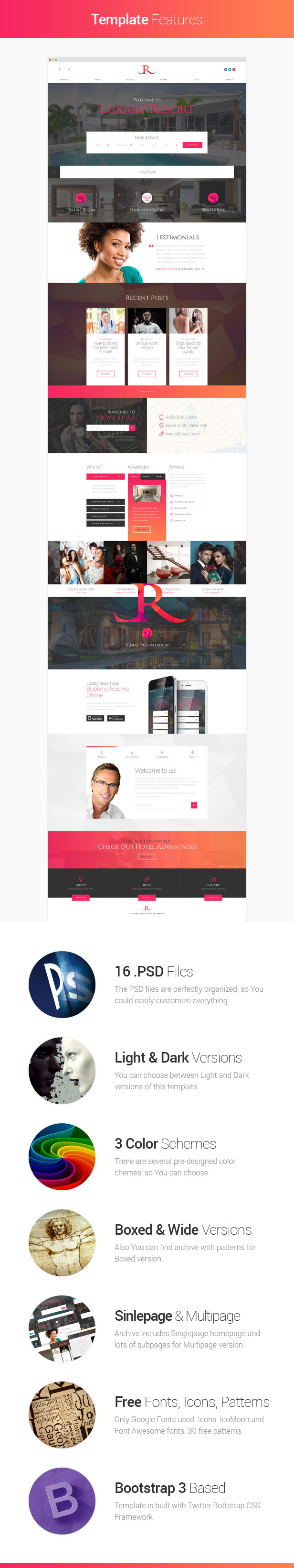 Luxary Resort - Hotel & Resort PSD Template