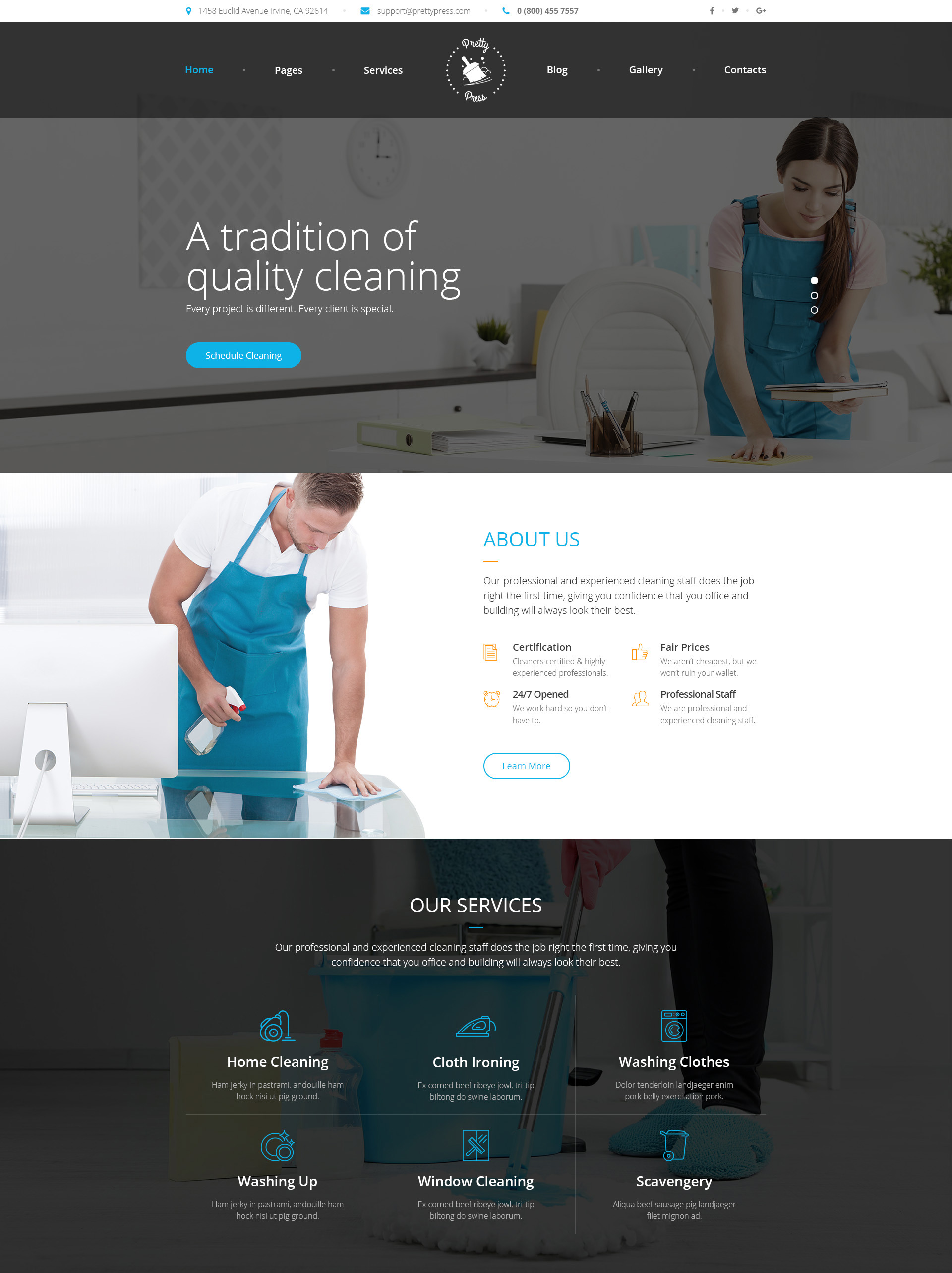 PrettyPress – Cleaning Service HTML Template | Modern Web Templates