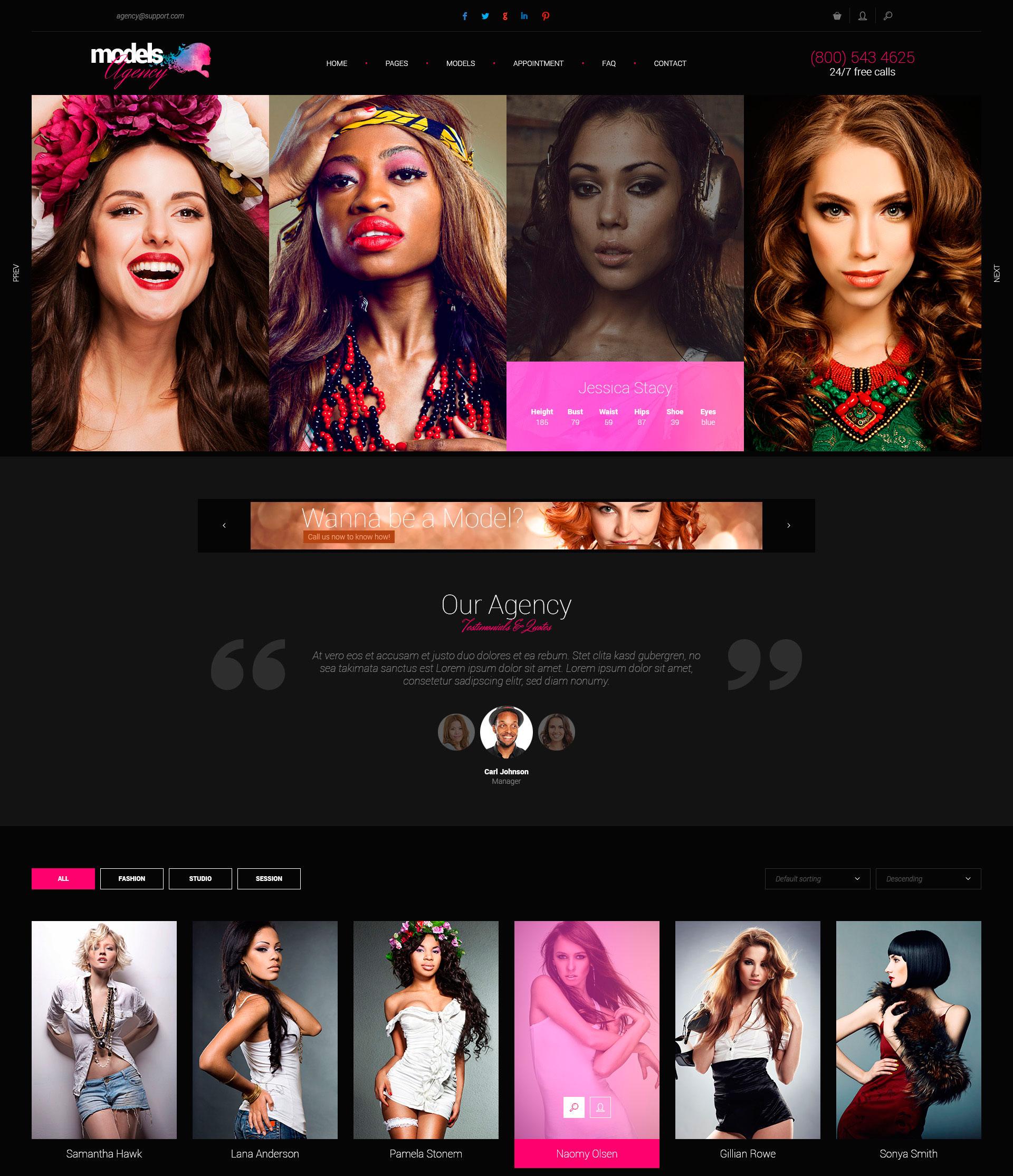 Models agency models portfolio html template