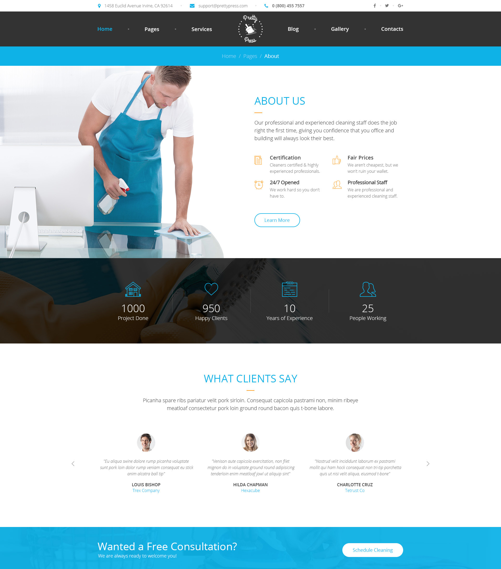 prettypress  u2013 cleaning service html template