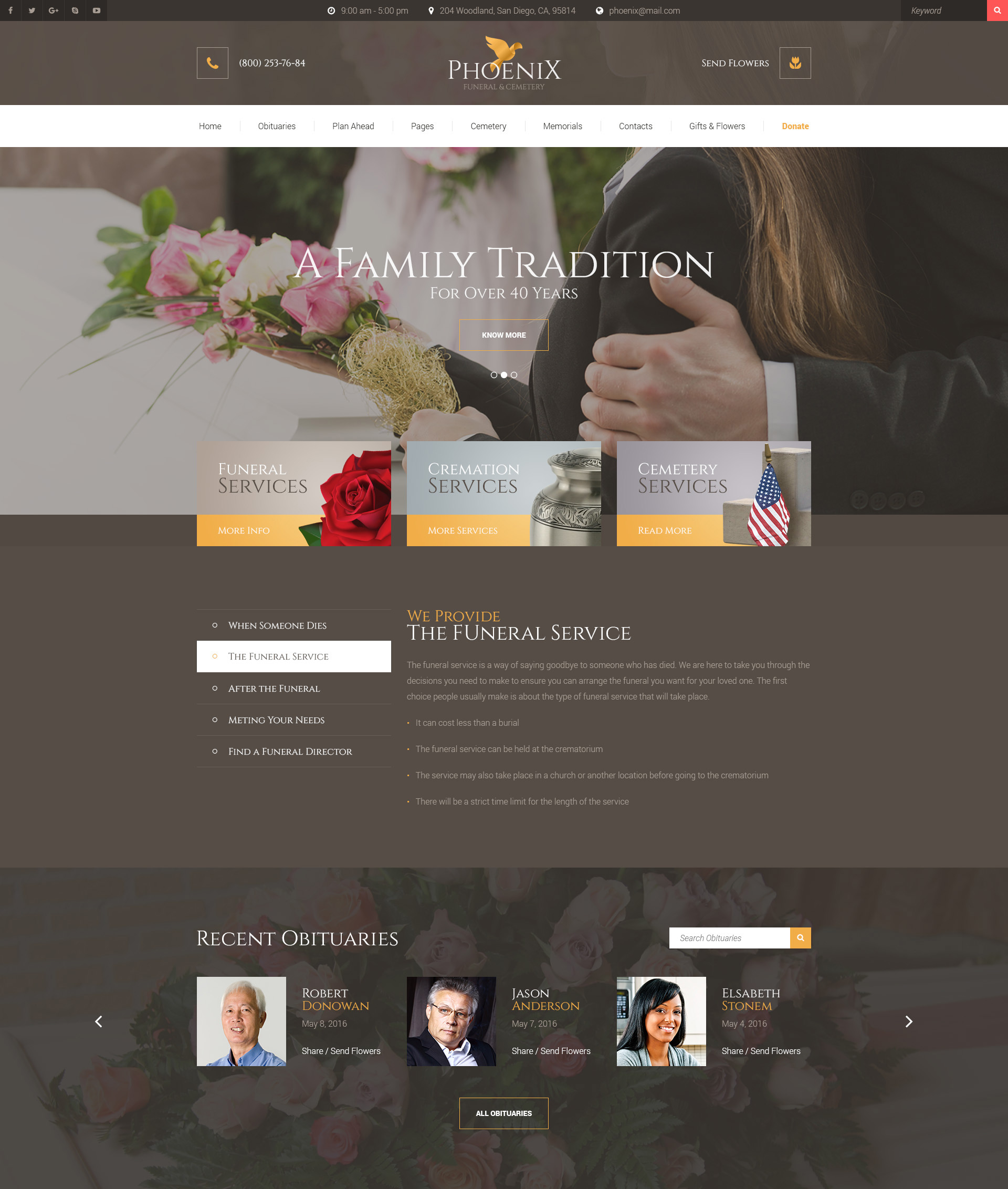 Phoenix – Funeral Service, Funeral Home & Cemetery HTML Template ...