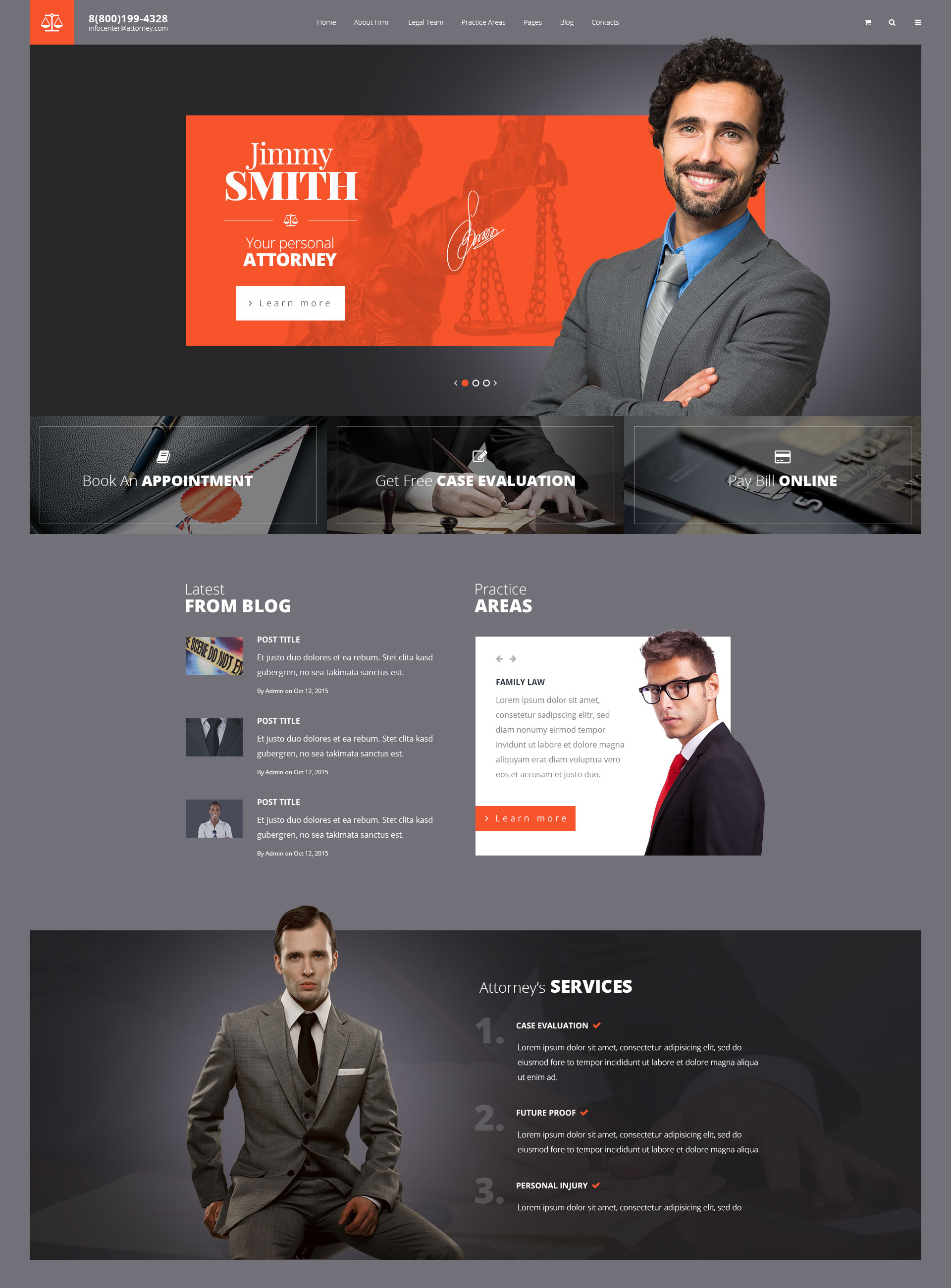 Attorneys – Law Firm/Private Lawyer HTML Template | Modern Web Templates