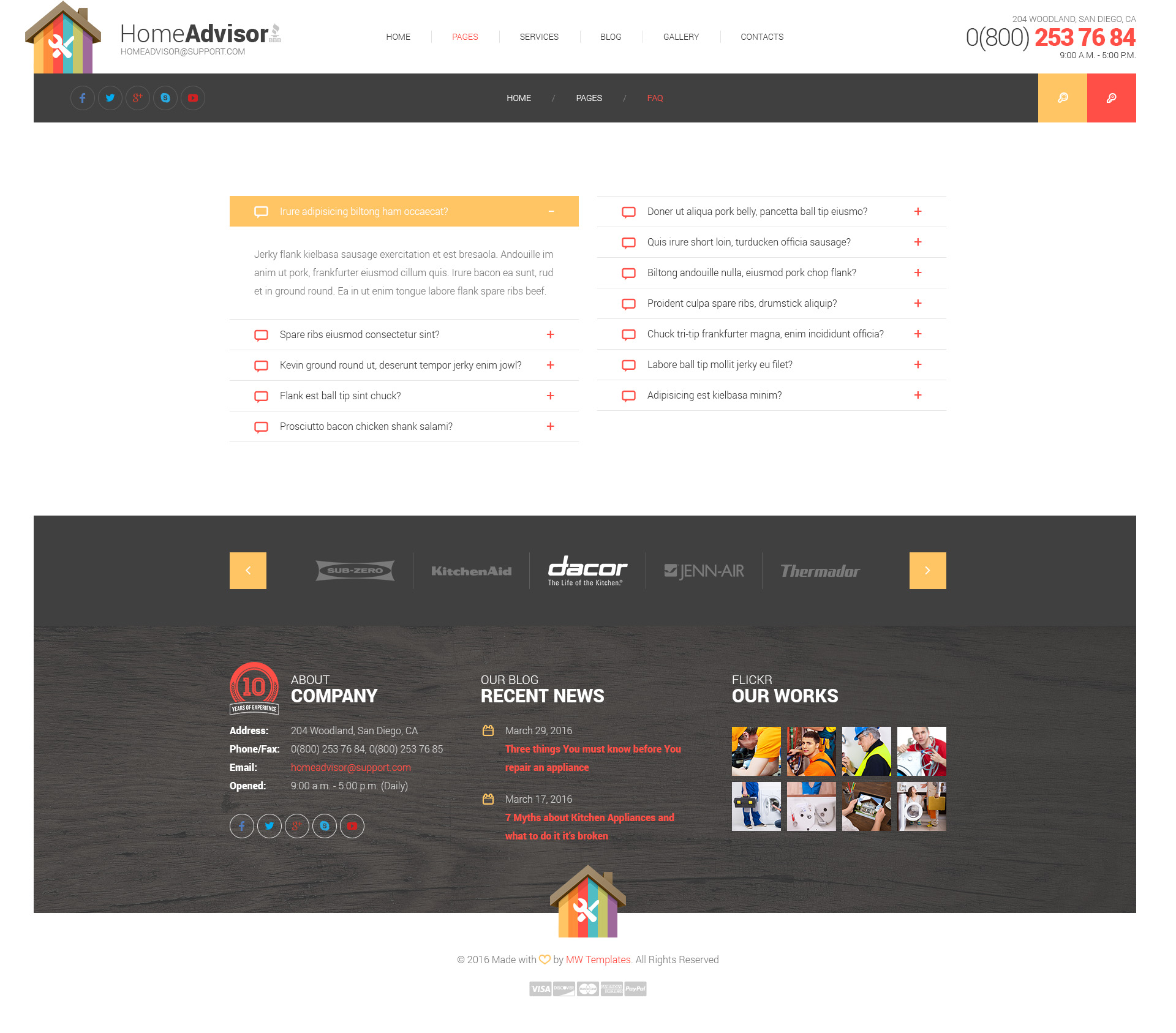 Home advisor – Appliance Repair HTML Template | Modern Web Templates