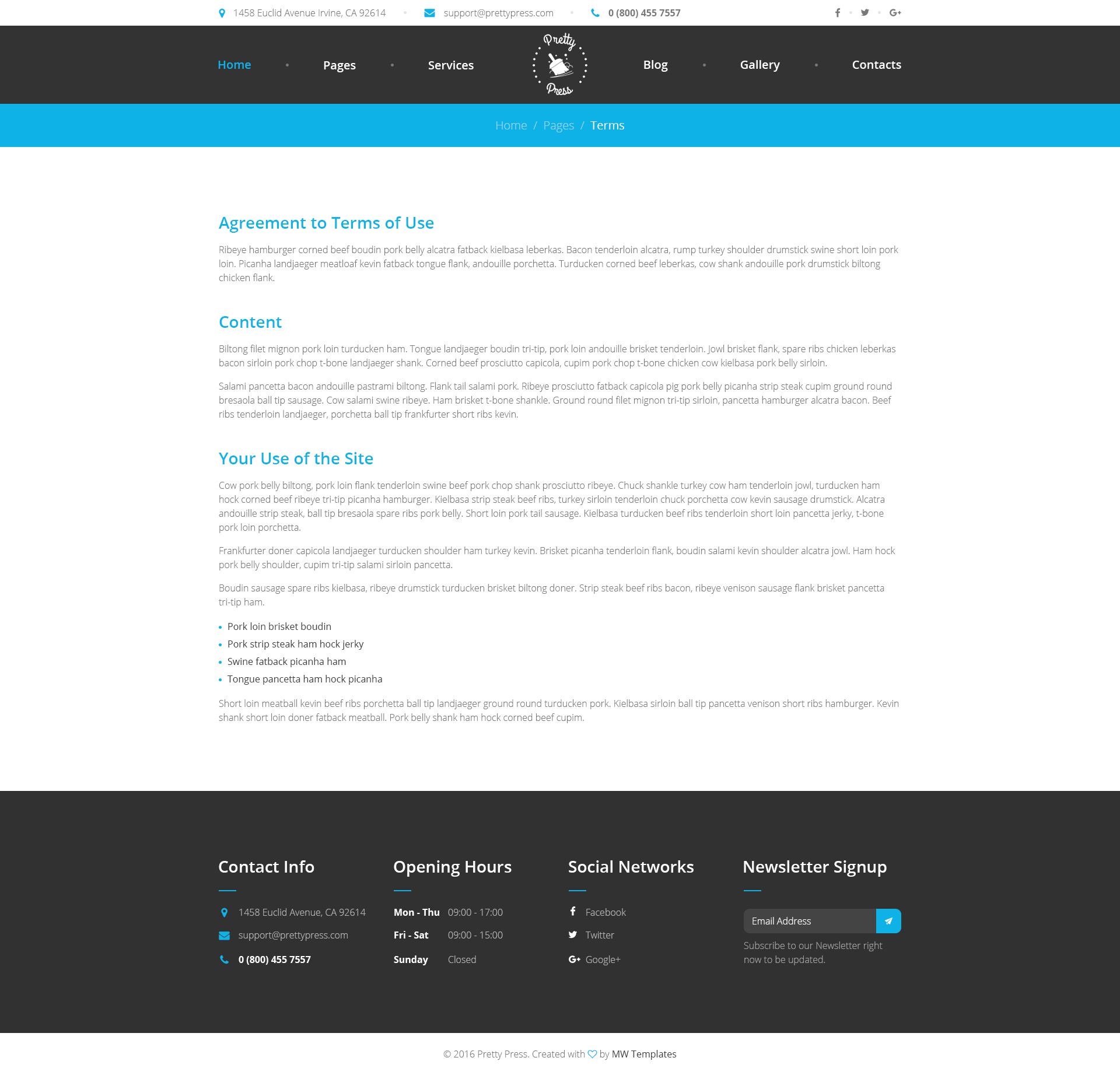 prettypress cleaning service html template