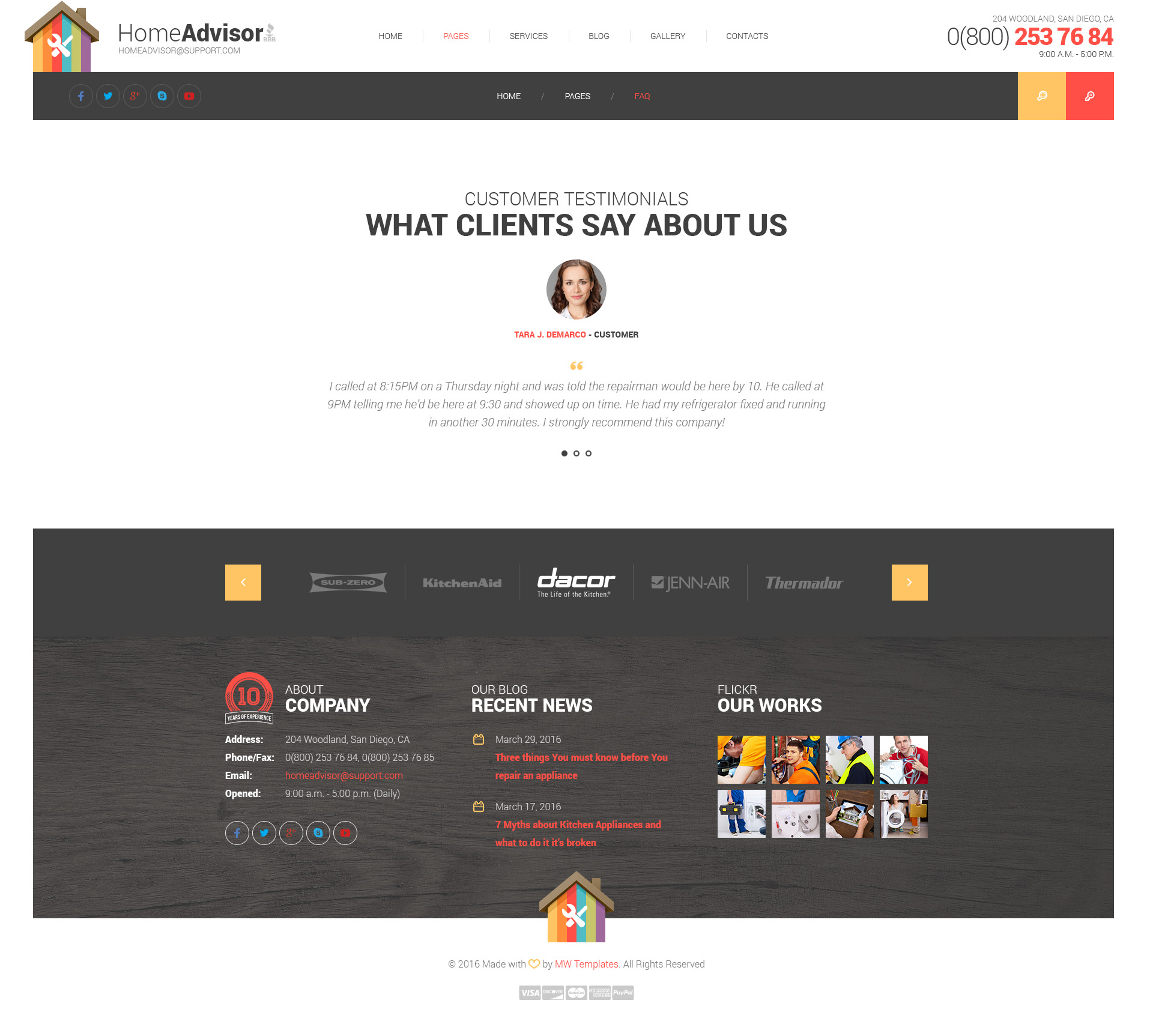 home advisor appliance repair html template modern web templates. Black Bedroom Furniture Sets. Home Design Ideas