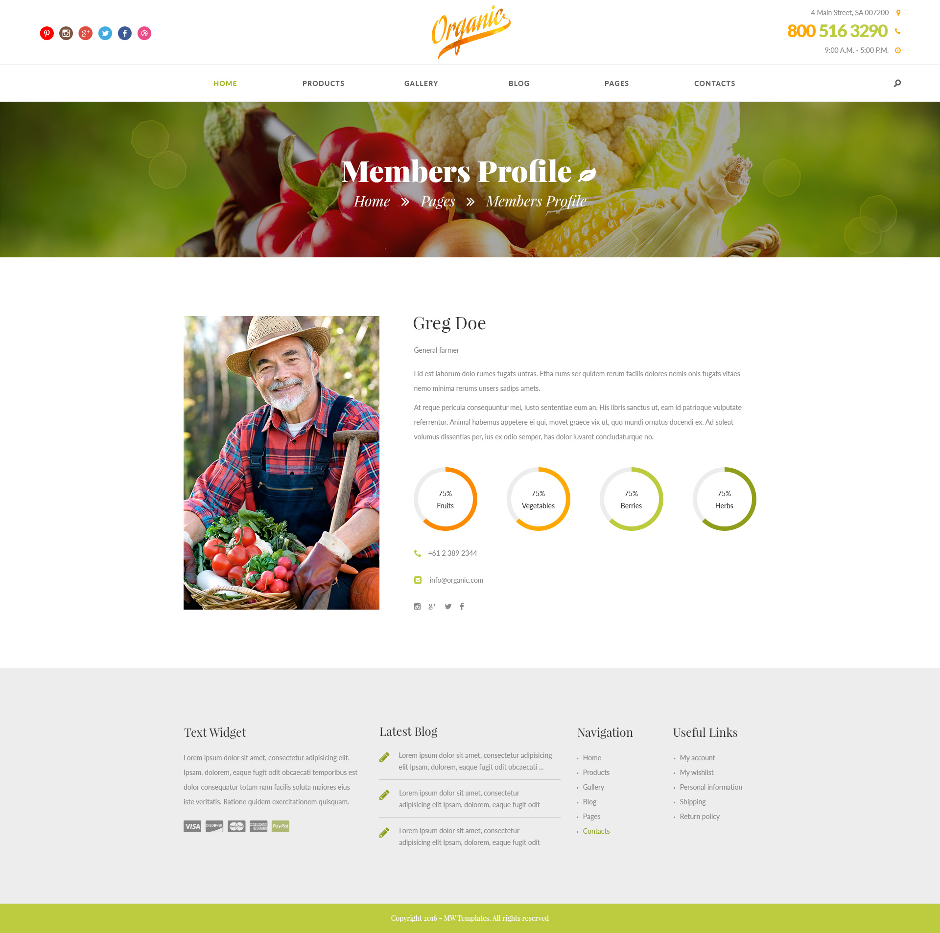 Organic – Farm, Garden and Agriculture HTML Template | Modern Web ...