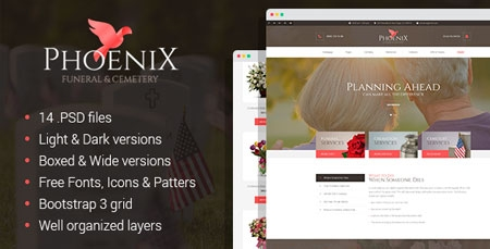 phoenix – funeral service, funeral home & cemetery html template, Powerpoint templates