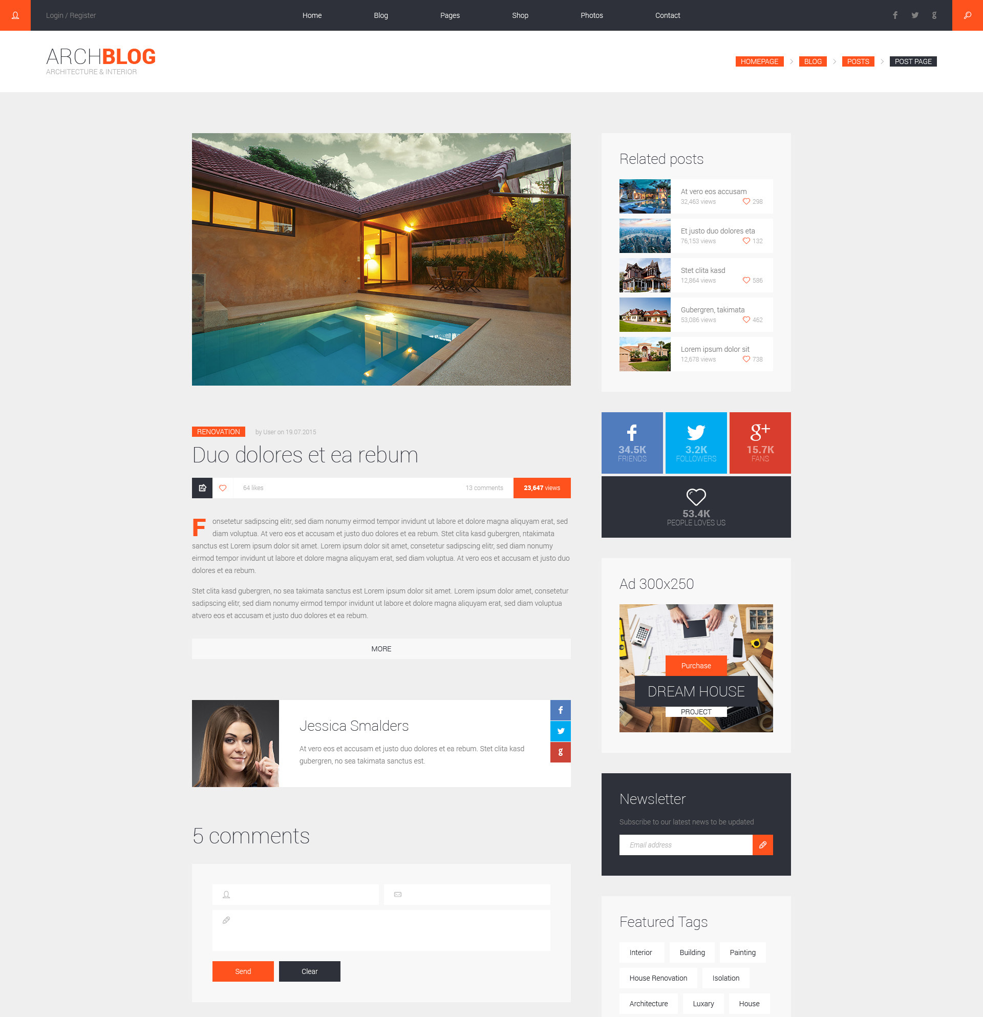Archblog Architecture Portfolio And Blog Html Template Modern