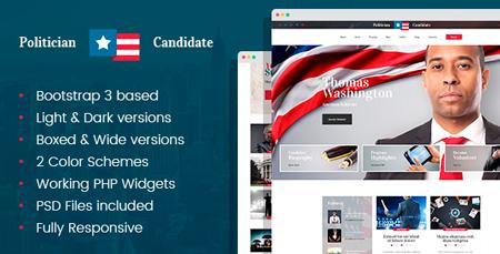 Politician Political PartyCandidate Modern WordPress Theme - Political website templates