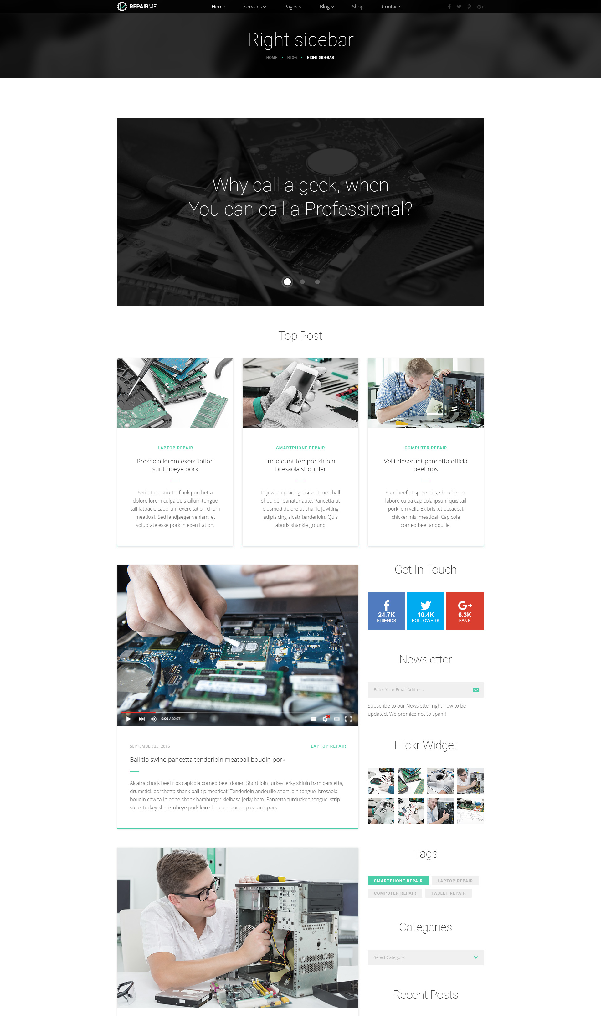 repairme gadgets home appliance repair workshop html template modern web templates. Black Bedroom Furniture Sets. Home Design Ideas