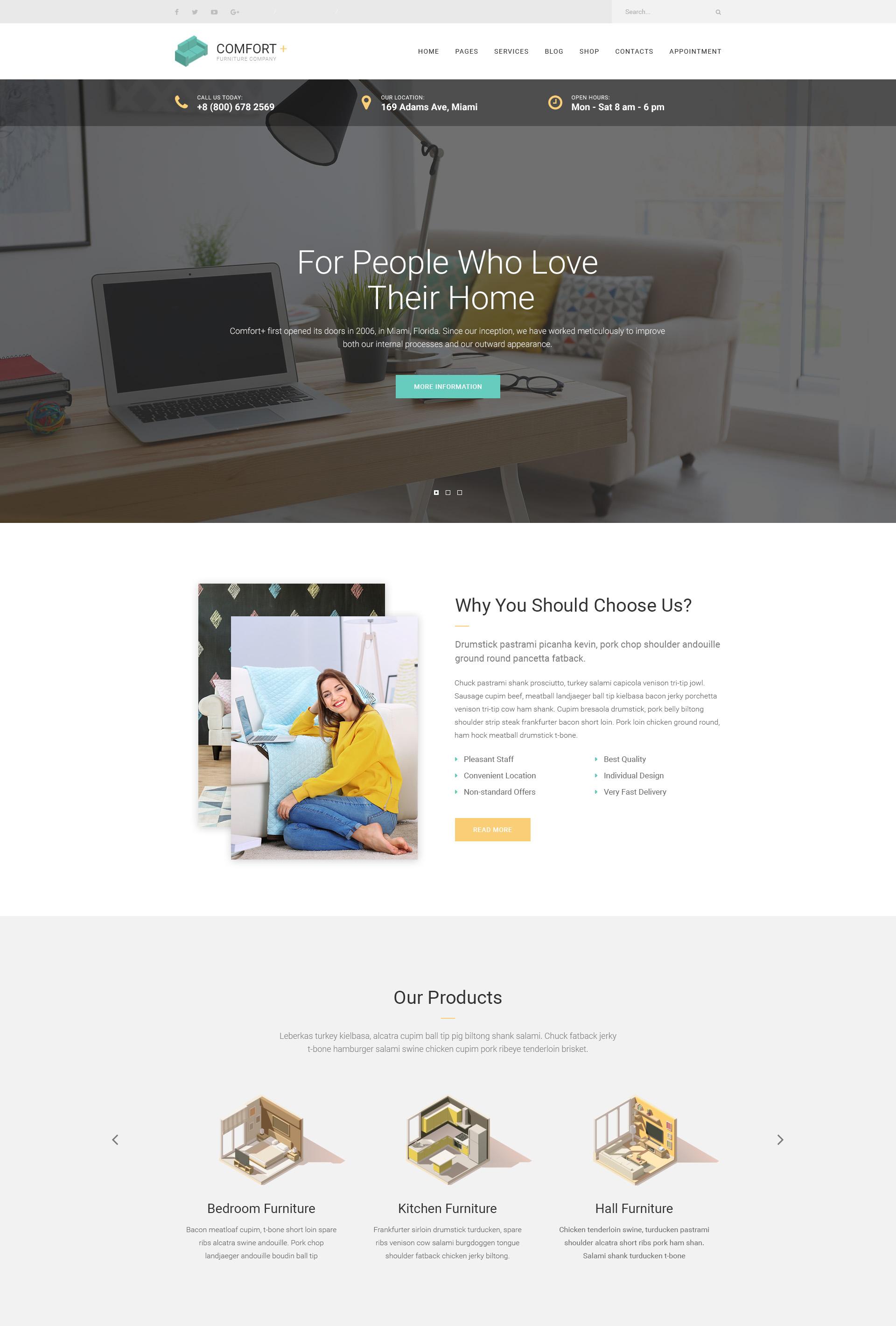 Comfort Furniture Manufacturing Wordpress Theme Modern Web Templates