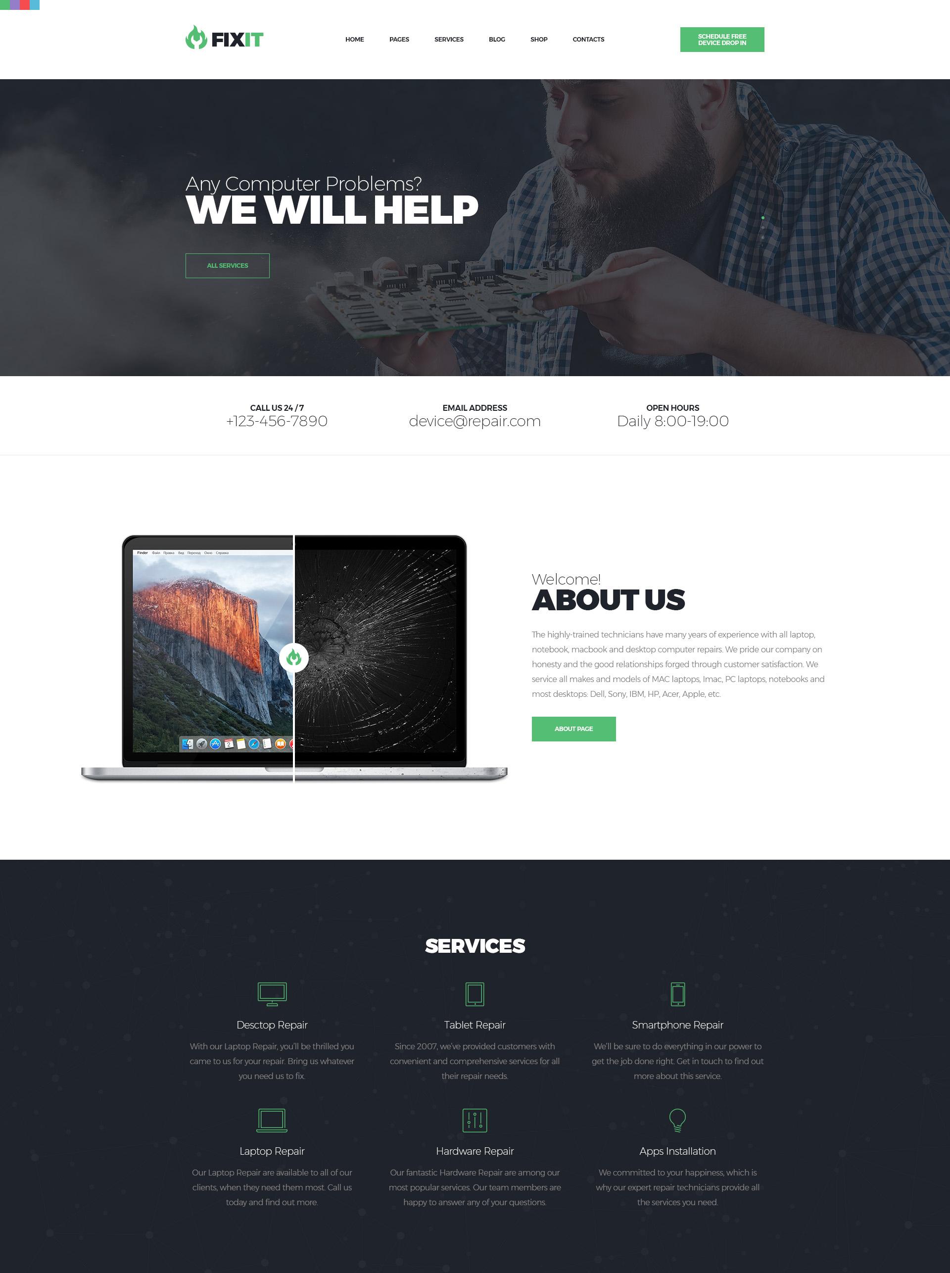 FixIt - Gadget Repair HTML Template | Modern Web Templates