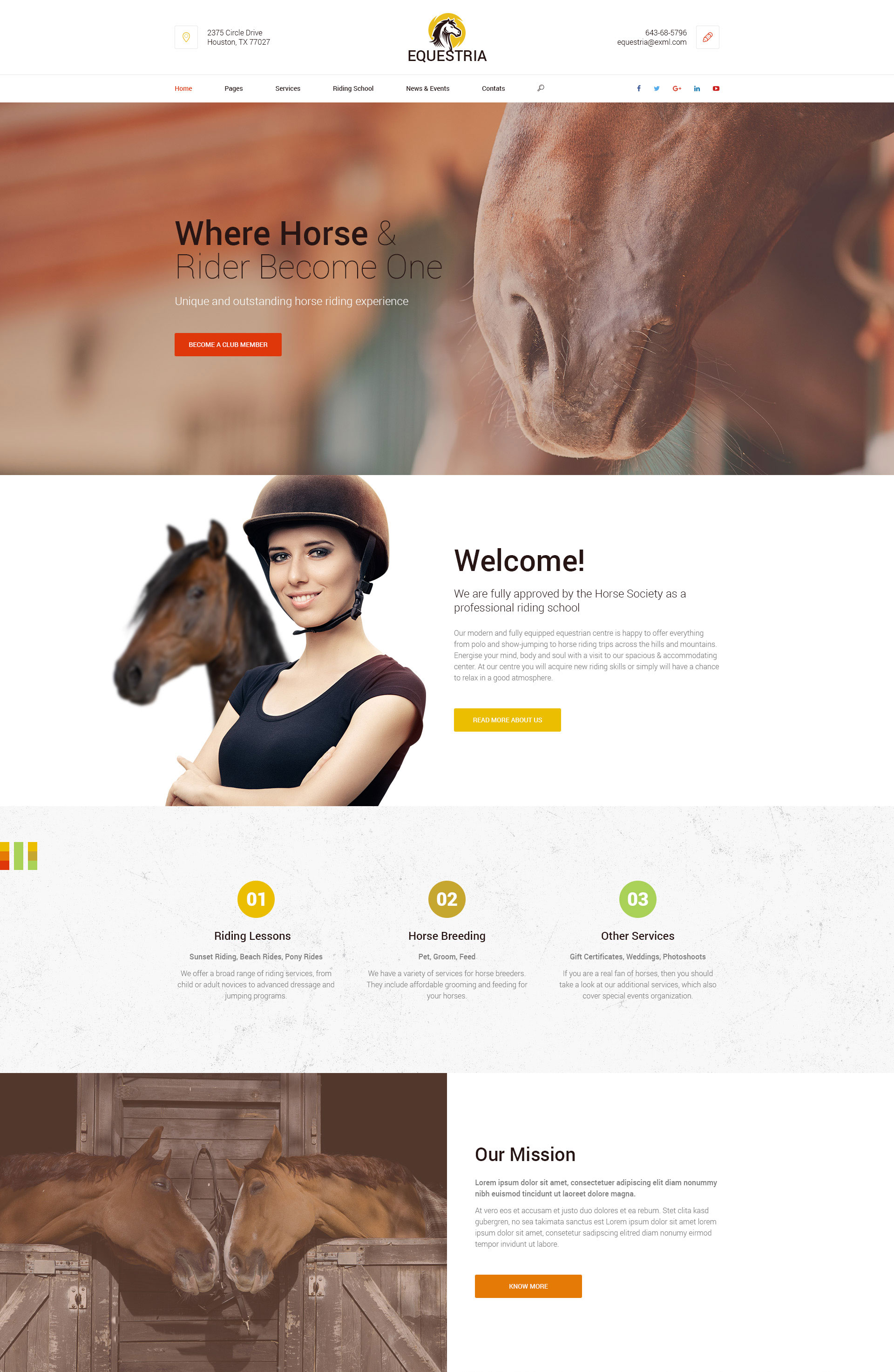 Equestria riging club wordpress theme modern web templates for Horseback riding lesson gift certificate template