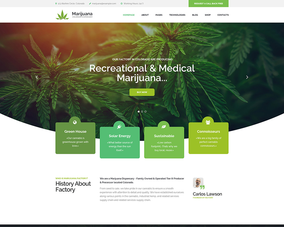 Marijuana dispensary WordPress Theme | Modern Web Templates